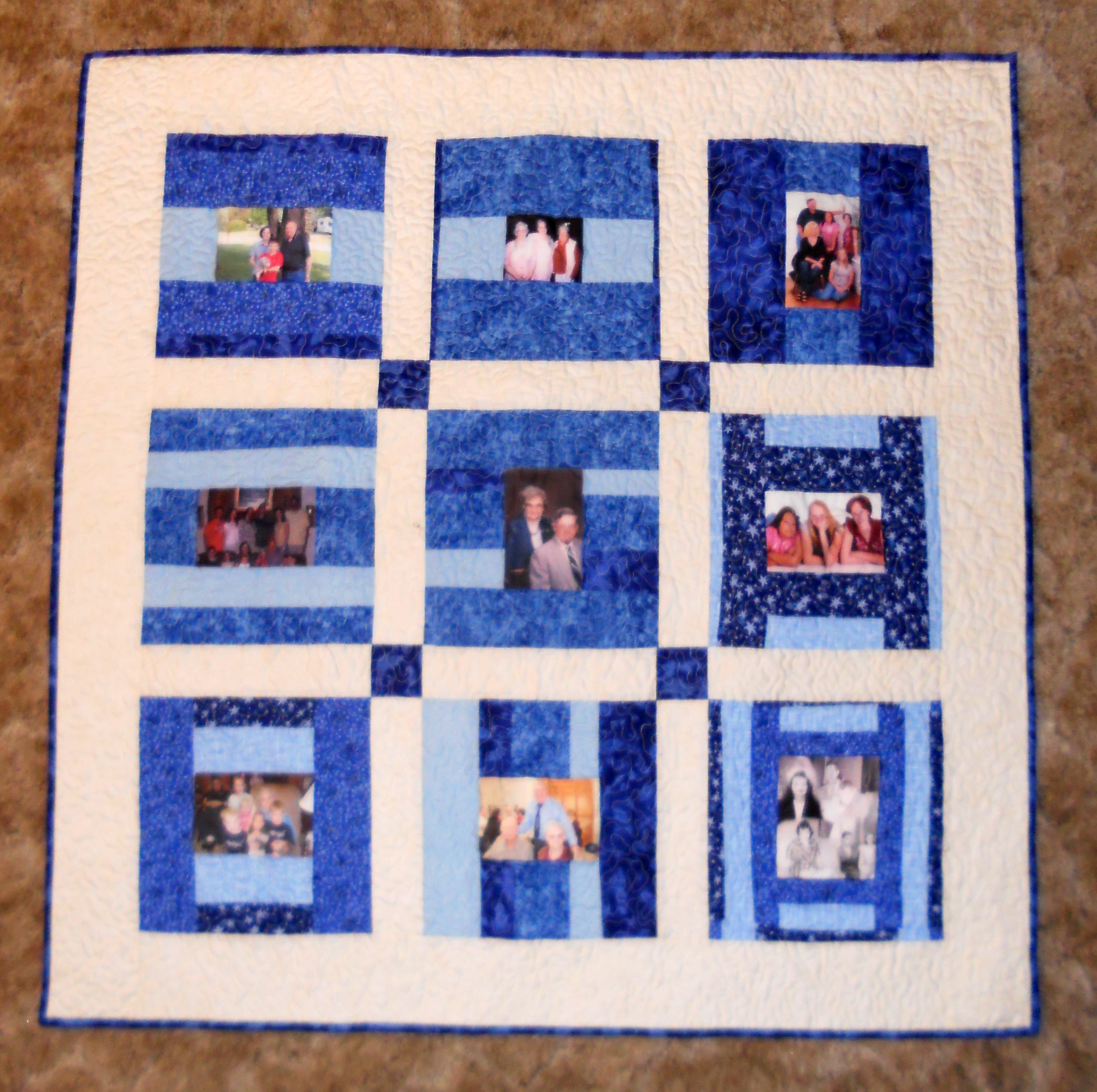 Grama's photo quilt hanging