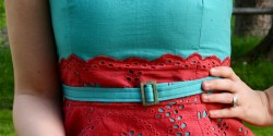 close-up of belt on eyelet dress