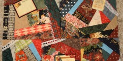 Christmas crazy quilt block set in progress
