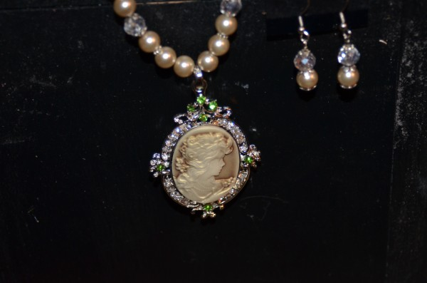 cameo with matching earrings
