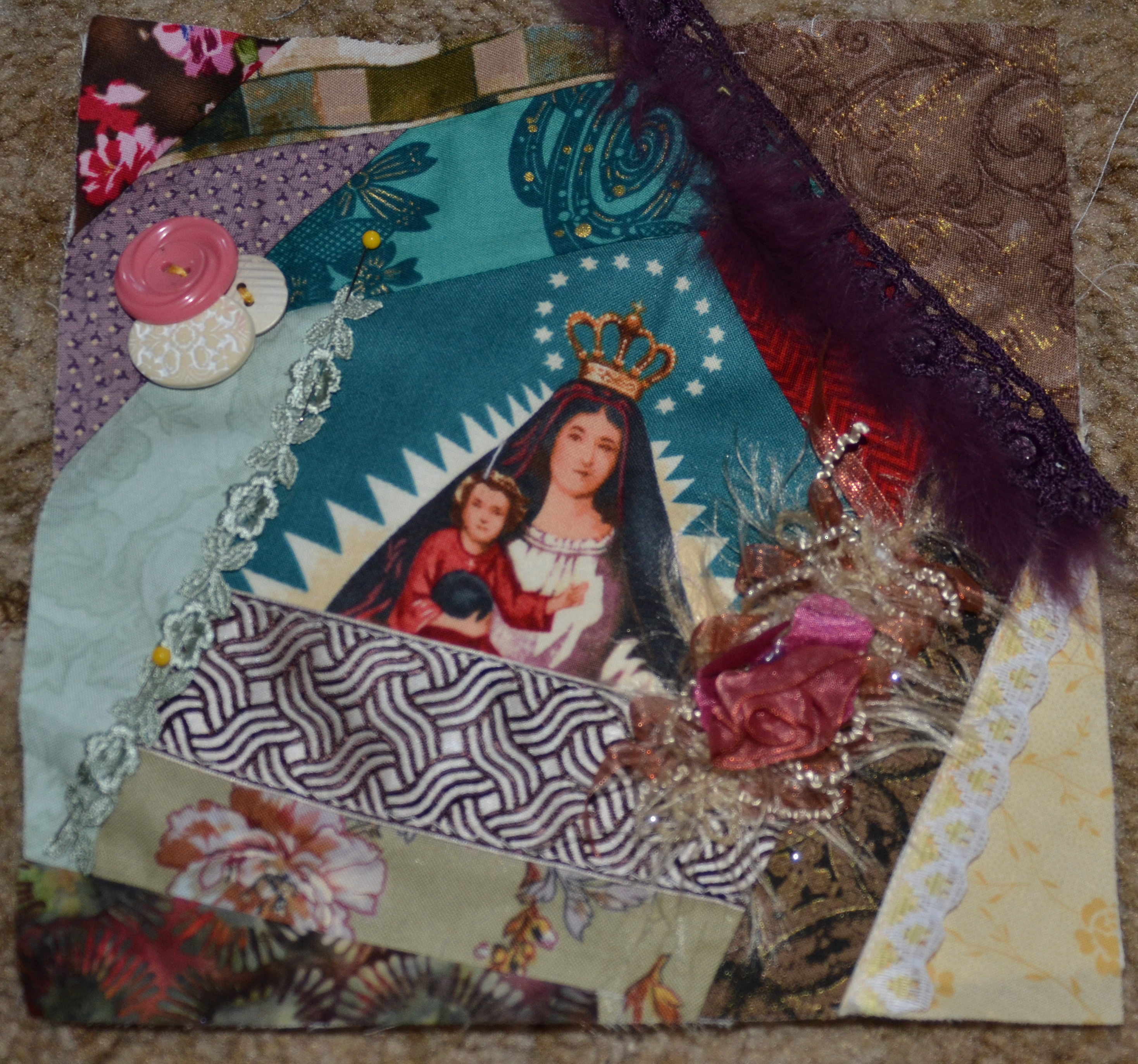 Easter crazy quilt block