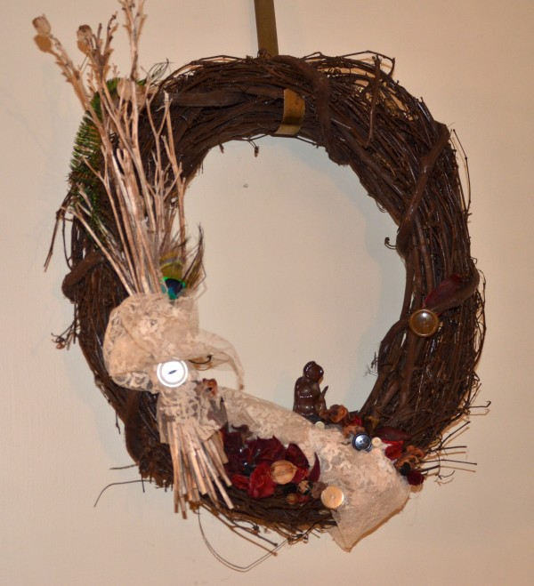 raku monk assemblage wreath