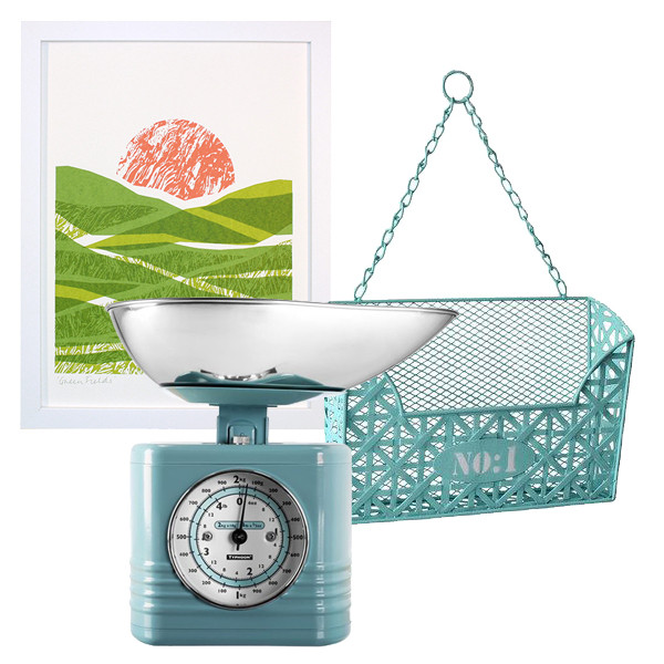 """Framed """"Green Fields"""" by Justine Ellis- $140.00 at Serena & Lily or get the print only for £30 at Print Club London; Vintage Blue Kitchen Scale by Typhoon Housewares available for £32 at K & Co.; mail holder by Cheung's Rattan Imports."""
