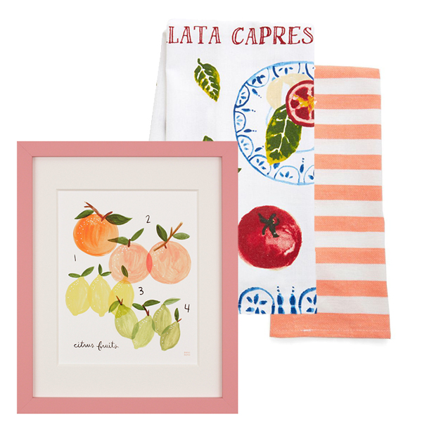 "Framed ""Citrus"" by Anna Bond print $150.00 at Serena & Lily or get an 8x10"" print at Rifle Paper Co. for $24; caprese hand towel for $9.99 and striped hand towel set for $10.99, both from Modcloth"